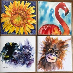 Pack of Four Colourful Cards