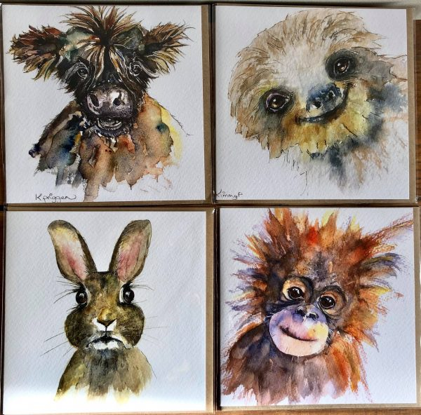 Pack of Four Watercolour Cards